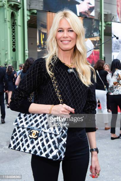 Claudia Schiffer is photographed for Paris Match at the tribute to Karl Lagerfeld at the Grand Palais on June 20, 2019 in Paris, France.
