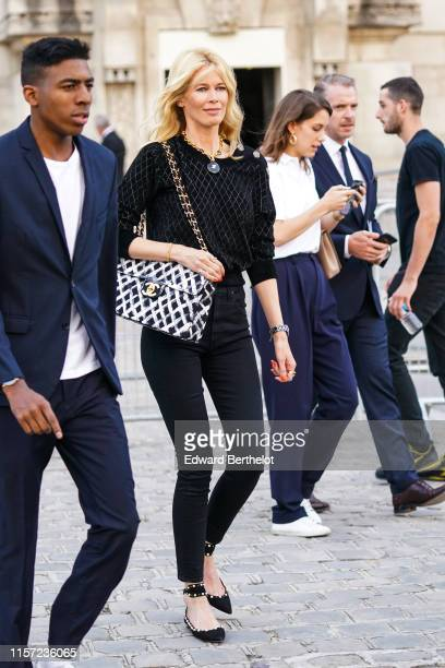 Claudia Schiffer is seen outside Karl for Ever Tribute to Karl Lagerfeld at Grand Palais during Paris Fashion Week Menswear Spring/Summer 2020 on...