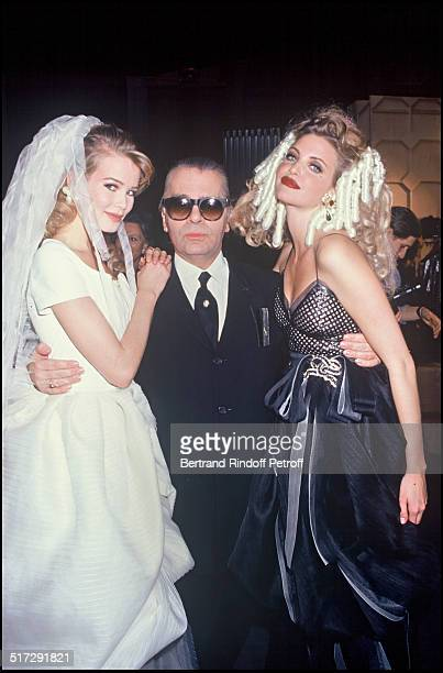 Claudia Schiffer Karl Lagerfeld and Nadja Auermann Chanel Haute Couture fashion show spring summer 1993 in Paris