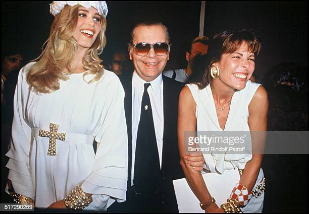 Claudia Schiffer Karl Lagerfeld and Princess Caroline of Monaco at the fall winter 19911992 fashion shows