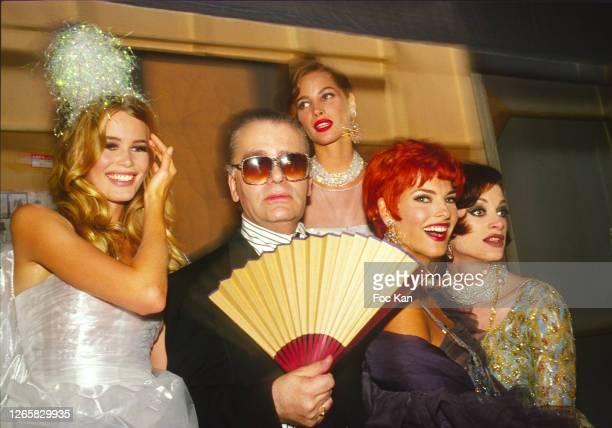 Claudia Schiffer, Karl Lagerfeld, Christy Turlington, Linda Evangelista and Kristen McMenamy attend a Chanel Fashion Show during Paris Fashion Week...