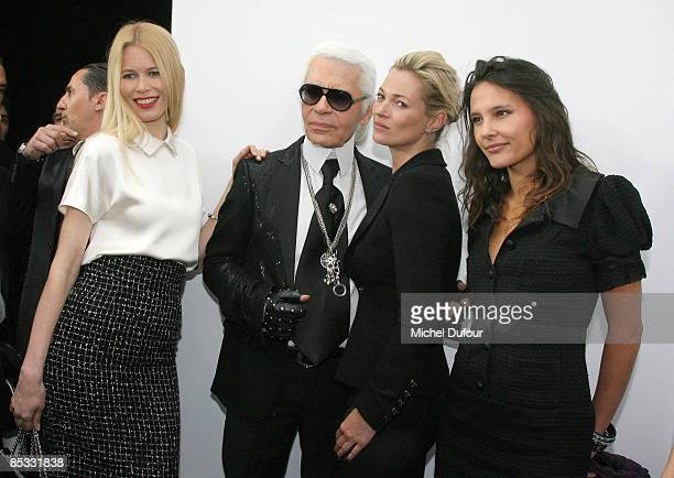 Claudia Schiffer Karl Lagerfeld Kate Moss and Virginie Ledoyen attend the Chanel ReadytoWear A/W 2009 fashion show during Paris Fashion Week at Grand...