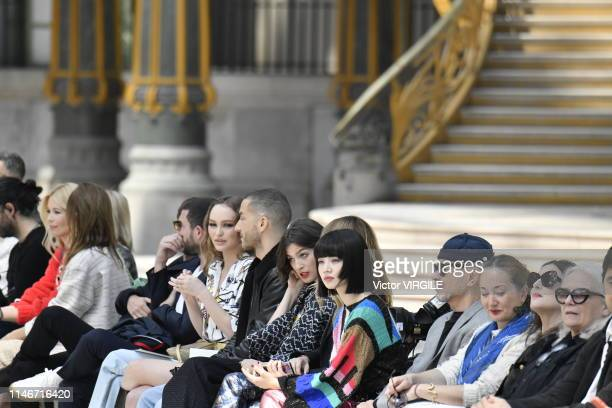 Claudia Schiffer LilyRose Depp a guest Alma Jodorowsky Joana Preiss Nana Komatsu and JeanPaul Goude attend the Chanel Cruise Collection 2020 at Grand...