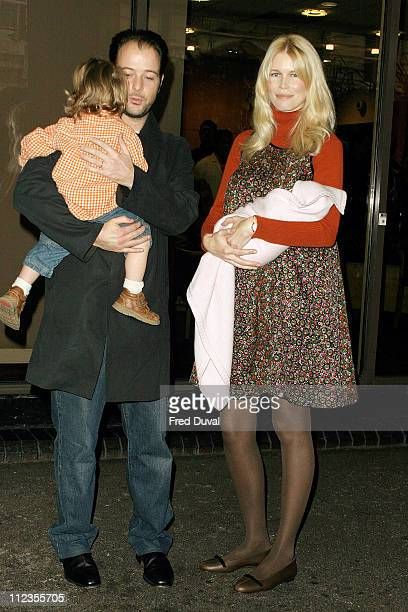 Claudia Schiffer Matthew Vaughn with their son Caspar and newly born baby Clementine outside the Portland Hospital where the supermodel gave birth to...