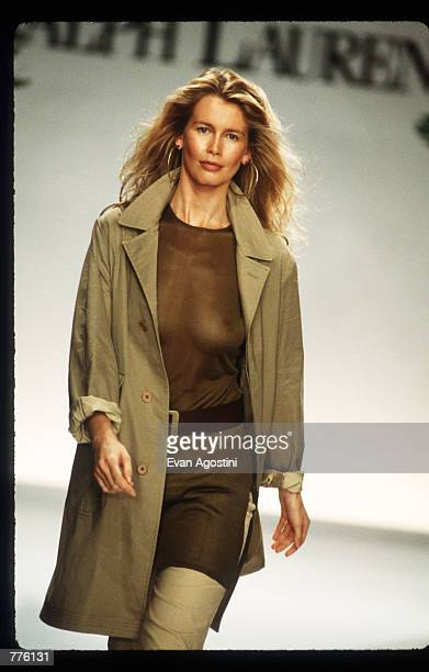 Claudia Schiffer models clothing from the Ralph Lauren Spring 97 collection at the 7th on Sixth Fashion Show October 30 1996 in New York City Ralph...