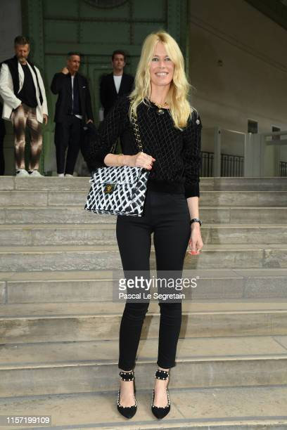 Claudia Schiffer poses prior the Karl Lagerfeld Hommage at Grand Palais on June 20 2019 in Paris France