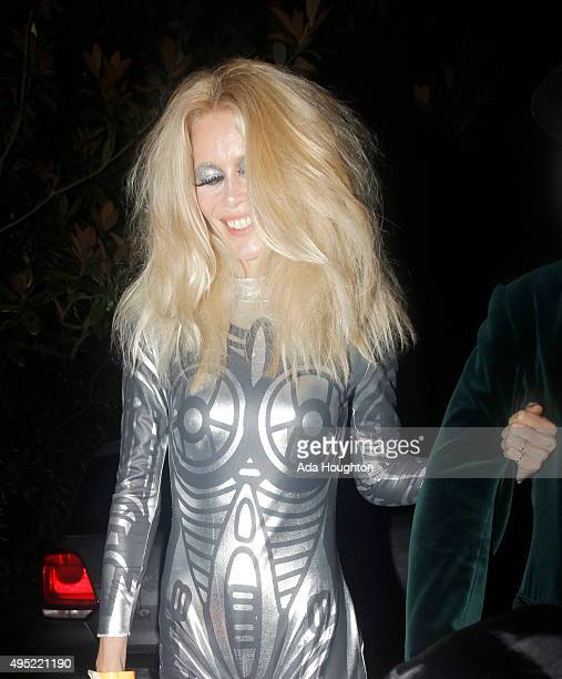 Claudia Schiffer seen arriving at Jonathan Ross's halloween party on October 31 2015 in London England