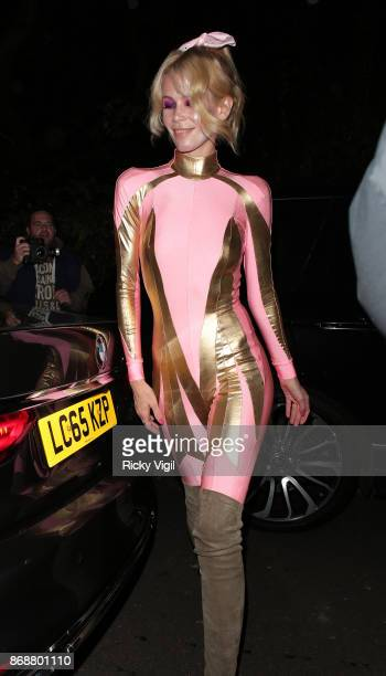 Claudia Schiffer seen attending Jonathan Ross Halloween party on October 31 2017 in London England