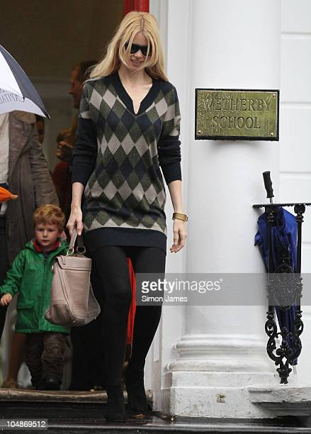 Claudia Schiffer sighted on the school run on October 6 2010 in London England