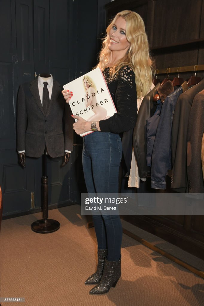 Claudia Schiffer signs copies of her book 'Claudia Schiffer' hosted by MR PORTER and NET-A-PORTER at The Kingsman Store, St James, on November 22, 2017 in London, England.