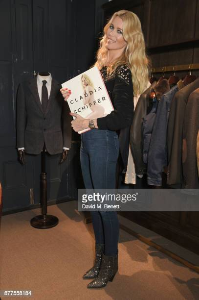 Claudia Schiffer signs copies of her book 'Claudia Schiffer' hosted by MR PORTER and NETAPORTER at The Kingsman Store St James on November 22 2017 in...