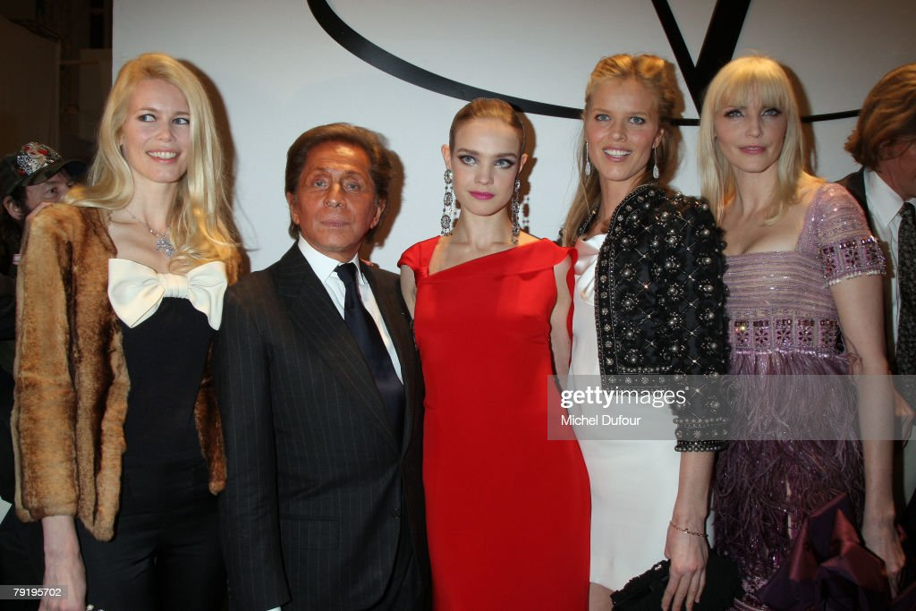 Claudia Schiffer, Valentino, Natalia Vodianova, Eva Herzigova, Nadia Auermann attend the Valentino Fashion show, during Paris Fashion Week (Haute Couture) Spring-Summer 2008 on January 23, 2008 at Musee Rodin in Paris, France.