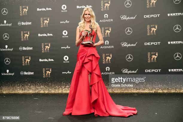 Claudia Schiffer with award during the Bambi Awards 2017 winners board at Stage Theater on November 16, 2017 in Berlin, Germany.