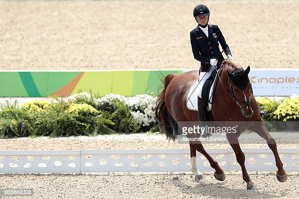 Claudia Schimidt of Germany onboard Romeo Royal during Equestrian Dressage Individual Championship Test Grade II Final on day 8 of the Rio 2016...