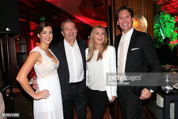 Claudia Schwarz Wolfgang Niersbach and his girlfriend Marion Popp Axel Ludwig Director of the hotel Vier Jahreszeiten during the christmas party at...
