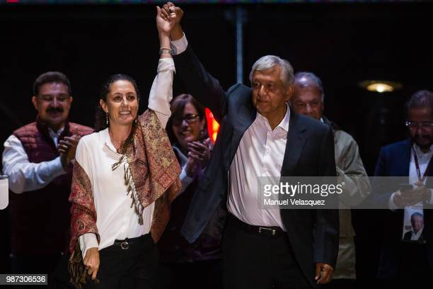 Claudia Sheinbaum candidate for mayor of Mexico City and Andres Manuel Lopez Obrador candidate for President of Mexico attend the final event of the...