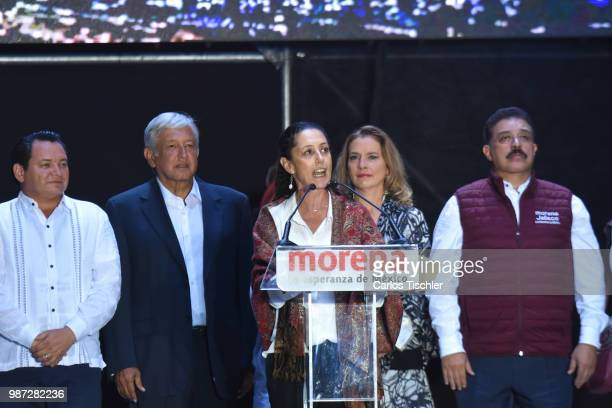 Claudia Sheinbaum candidate for mayor of Mexico City speaks during the final event of the 2018 Presidential Campaign at Azteca Stadium on June 27...