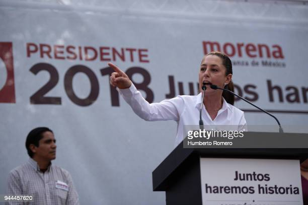 Claudia Sheinbaum City Mayor candidate from the Morena Party delivers a speach during a political rally at the Delegacin Azcapotzalco on April 09...