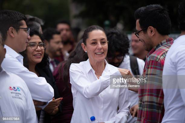 Claudia Sheinbaum City Mayor candidate from the Morena Party greets supportes during a political rally at the Delegacion Azcapotzalco on April 09...
