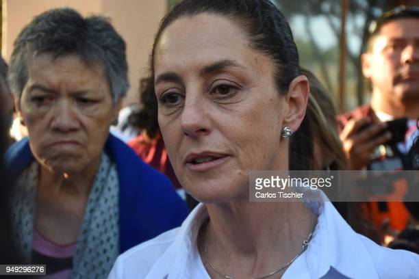 Claudia Sheinbaum Mexico City Mayor candidate from the Morena political party meets with neighbors of the Delegacion Benito Juarez to listen to their...