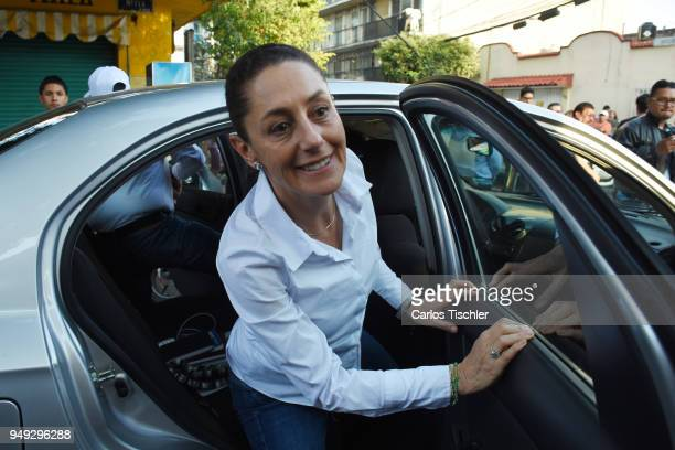Claudia Sheinbaum Mexico City Mayor candidate from the Morena political party arrives to meet with neighbors of the Delegacion Benito Juarez to...