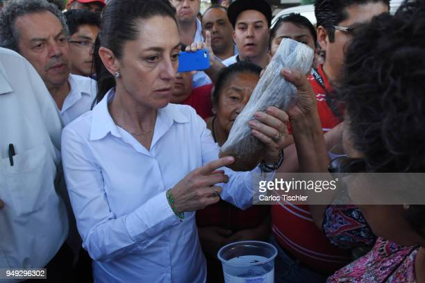 Claudia Sheinbaum Mexico City Mayor candidate from the Morena political party talks with neighbors of the Delegacion Benito Juarez to listen to their...