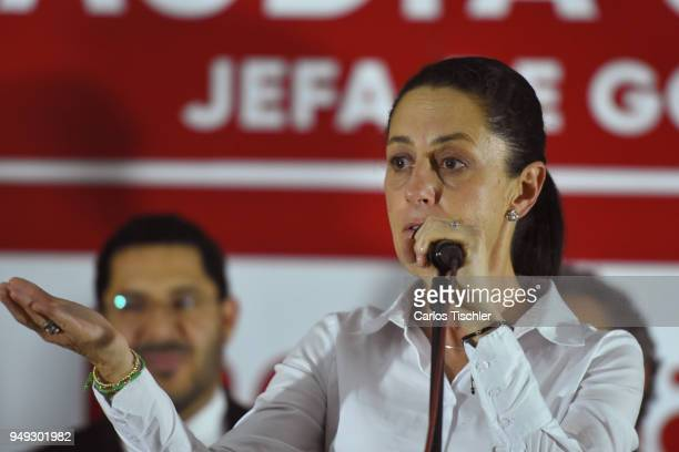 Claudia Sheinbaum Mexico City Mayor candidate from the Morena political party speaks during campaign rally at Delegacion Benito Juarez on April 19...