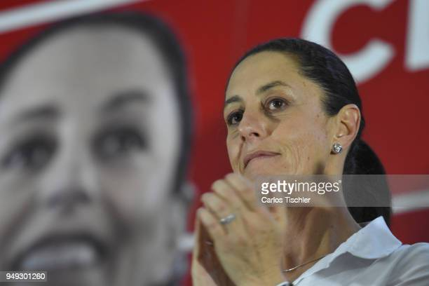 Claudia Sheinbaum Mexico City Mayor from the Morena political applauds on during a campaign rally at Delegacion Benito Juarez on April 19 2018 in...
