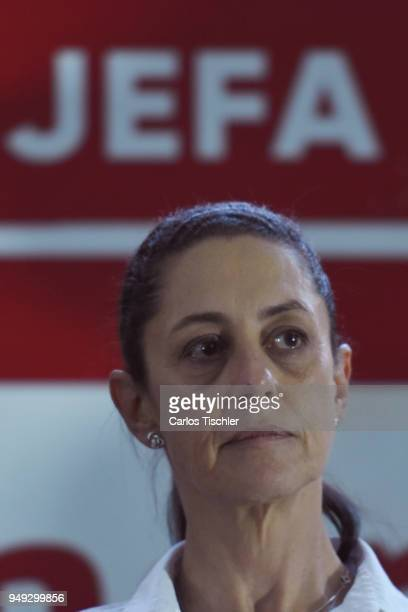 Claudia Sheinbaum Mexico City Mayor from the Morena political party looks on during a campaign rally at Delegacion Benito Juarez on April 19 2018 in...