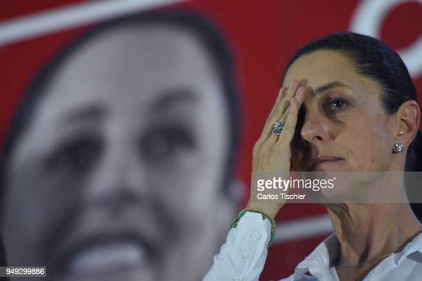 Claudia Sheinbaum Mexico City Mayor from the Morena political party gestures during a campaign rally at Delegacion Benito Juarez on April 19 2018 in...