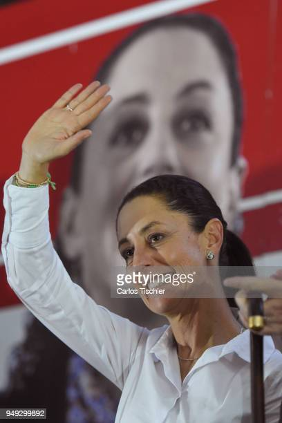 Claudia Sheinbaum Mexico City Mayor from the Morena political party greets the audience during a campaign rally at Delegacion Benito Juarez on April...