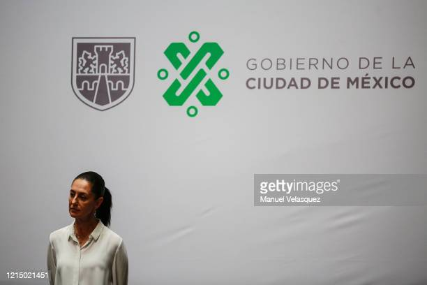 Claudia Sheinbaum Mexico City Mayor gestures during a press conference held in the Mexico City Mayor Hall on March 26 2020 in Mexico City Mexico...