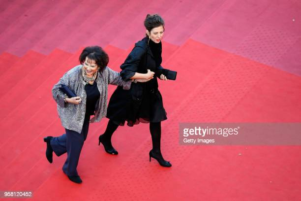 Claudia Squitieri and Claudia Cardinale attends the screening of Sink Or Swim during the 71st annual Cannes Film Festival at Palais des Festivals on...