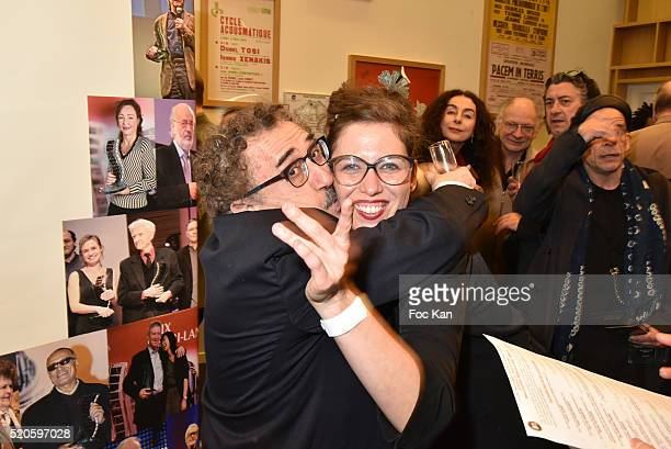 Claudia Squitieri daughter of Claudia Cardinale and director Ferid Boughedir attend Henri Langlois 11th Award Ceremony At Maison de La Radio on April...