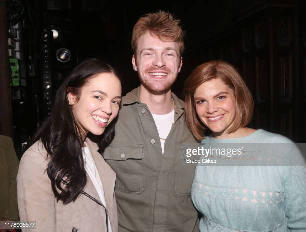 Claudia Sulewski boyfriend Finneas O'Connell and Diane Davis pose backstage at Harry Potter and The Cursed Child Parts 1 2 on Broadway at The Lyric...