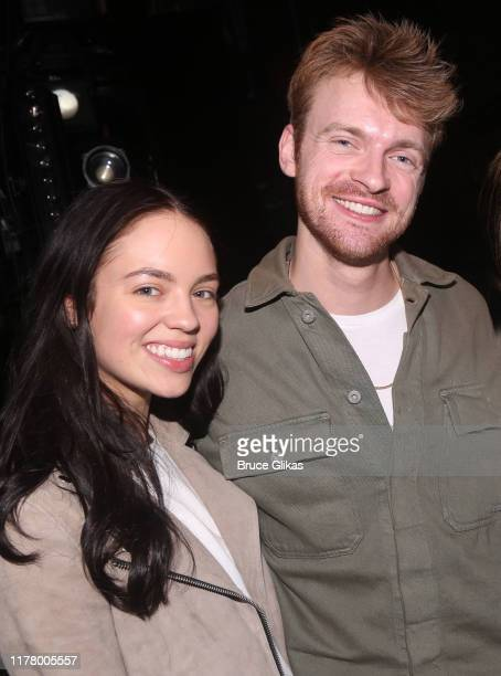 Claudia Sulewski boyfriend Finneas O'Connell pose backstage at Harry Potter and The Cursed Child Parts 1 2 on Broadway at The Lyric Theatre on...