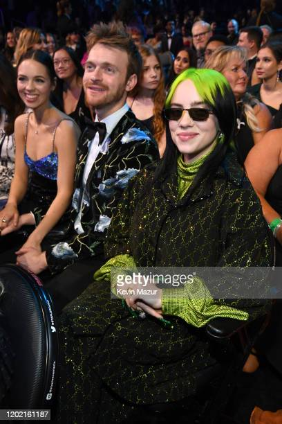 Claudia Sulewski Finneas O'Connell and Billie Eilish during the 62nd Annual GRAMMY Awards at STAPLES Center on January 26 2020 in Los Angeles...
