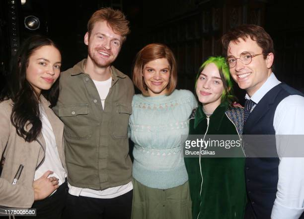 """Claudia Sulewski, Finneas O'Connell, Diane Davis, Billie Eilish and James Snyder pose backstage at """"Harry Potter and The Cursed Child, Parts 1 & 2""""..."""