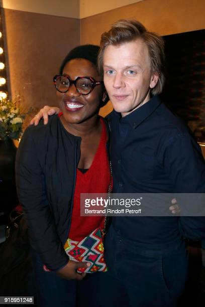 Claudia Tagbo and Alex Lutz pose after the Alex Lutz One Man Show At L'Olympia on February 8 2018 in Paris France