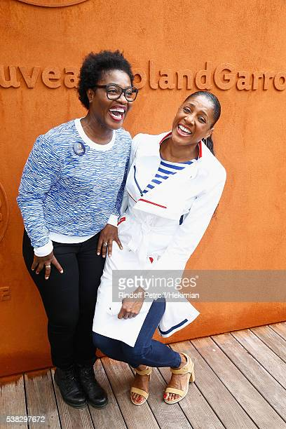 Claudia Tagbo and Marie Jose Perec attend the French Tennis Open Day Fifteen with the Final between Novak Djokovic and Andy Murray at Roland Garros...