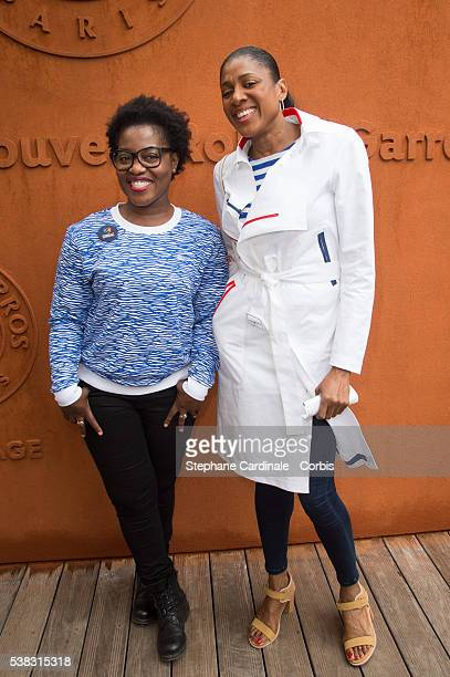 Claudia Tagbo and MarieJosee Perec attend the French Tennis Open Day Fifteen with the Final between Novak Djokovic and Andy Murray at Roland Garros...