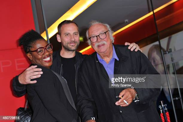 Claudia Tagbo Fred Testot and Jean Becker attend the Bon Retablissement Paris Premiere during Day 6 of the Champs Elysees Film Festival on June 16...