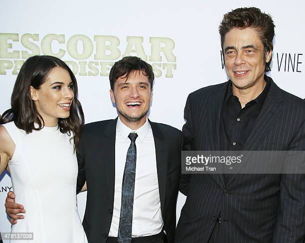 Claudia Traisac Josh Hutcherson and Benicio Del Toro arrive at the Los Angeles premiere of Escobar Paradise Lost held at ArcLight Hollywood on June...