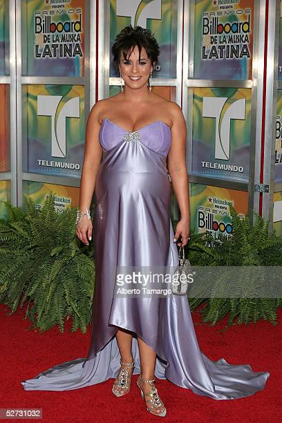 Claudia Trejos arrives at the 2005 Billboard Latin Music Awards at the Miami Arena on April 28 2005 in Miami Florida
