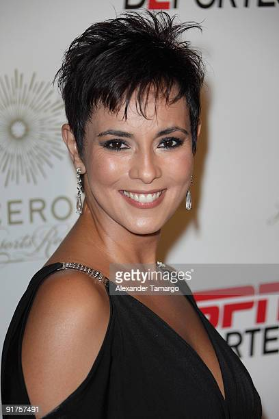 Claudia Trejos arrives at the ESPN Deportes and Viceroy Miami Party to welcome the Latino owners of the Miami Dolphins event at Club 50 at Viceroy...