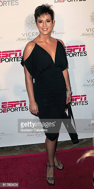 Claudia Trejos attends the ESPN Deportes and Viceroy Miami Welcome Latino owners of the Miami Dolphins event at Club 50 at Viceroy Miami on October...