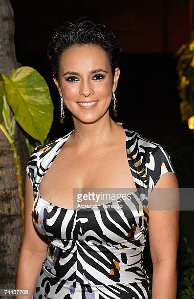 Claudia Trejos poses at the Rocco Donna three year anniversary party at Ice Palace Studios on June 7 2007 in Miami Florida