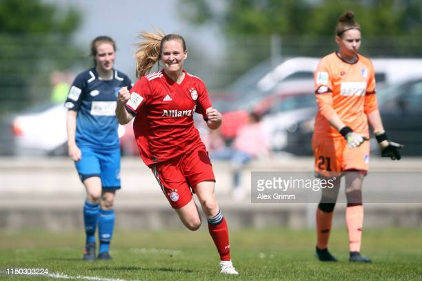 Claudia van den Heiligenberg of Muenchen celebrates her team's third goal during the 2 Frauen Bundesliga match between TSG 1899 Hoffenheim II and FC...