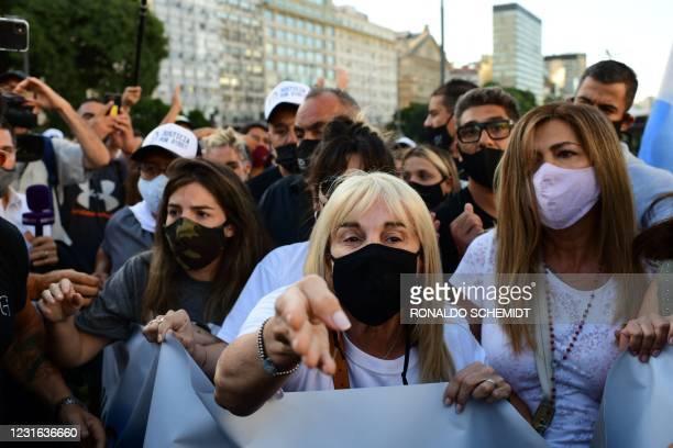 Claudia Villafane , ex wife of the Argentinian late football player Diego Maradona, and Giannina Maradona , daughter of the football player, are seen...