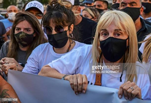 Claudia Villafane , ex wife of the Argentinian late football player Diego Maradona, Giannina Maradona and Dalma Maradona , daughters of the football...